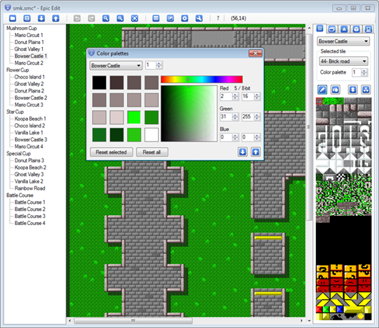 Color palette editor screenshot - changing track colors