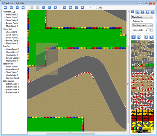 Tileset editing mode screenshot - a user having copied several tiles